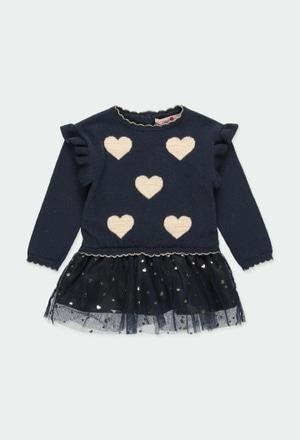Vestido tricot corações para o bebé menina_1