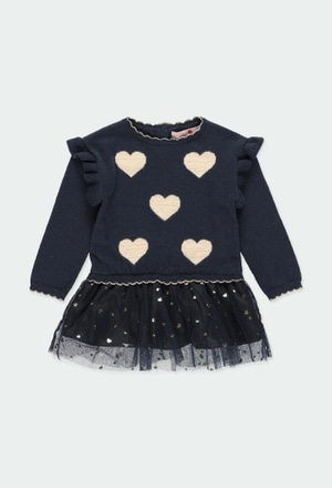 Kleid strick herzen für baby mädchen_1