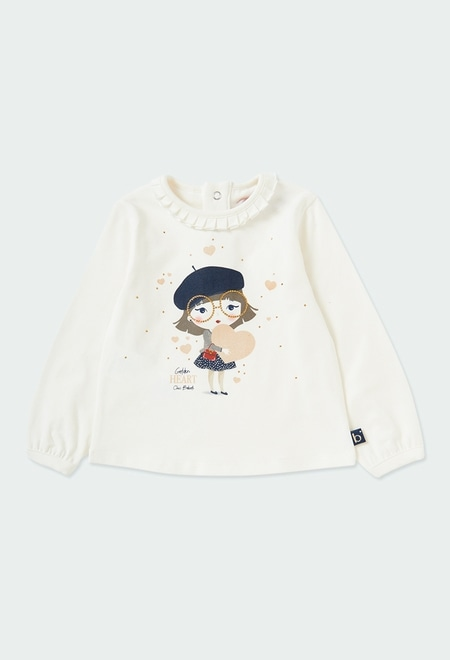 Stretch knit t-Shirt for baby girl_1