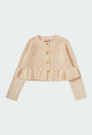 Knitwear jacket with ruffles for baby_1