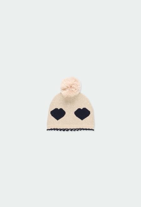 Bonnet tricoté coeurs pour bébé fille_1