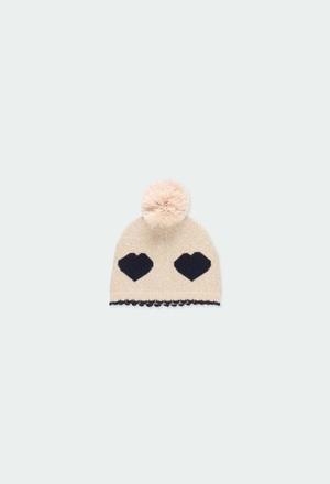 Gorro tricotosa corazones de bebé niña_1