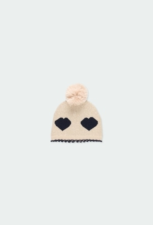 Knitwear hat hearts for baby girl_1