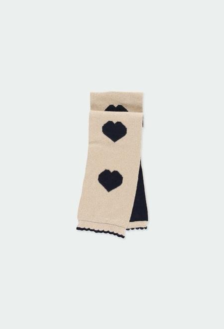 Écharpe en tricot coeurs pour bébé fille_1