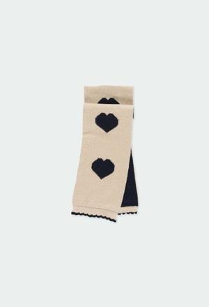 Bufanda tricotosa corazones de bebé niña_1