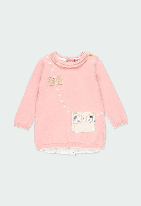 "Vestido tricot ""mala"" para o bebé menina_1"