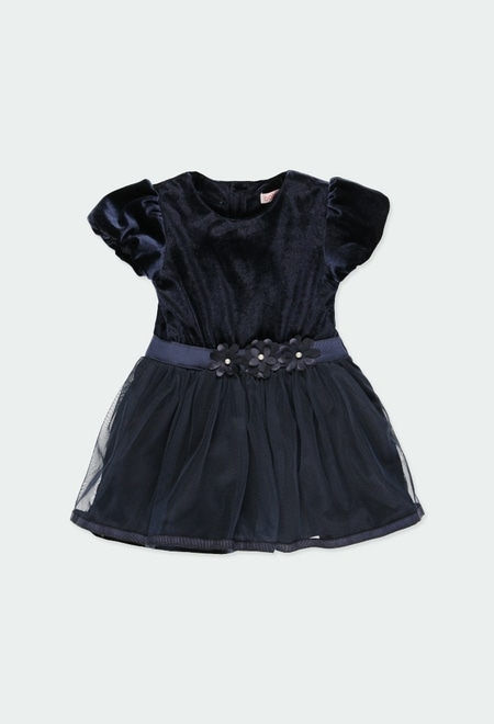 Vestido terciopelo combinado de bebé_1