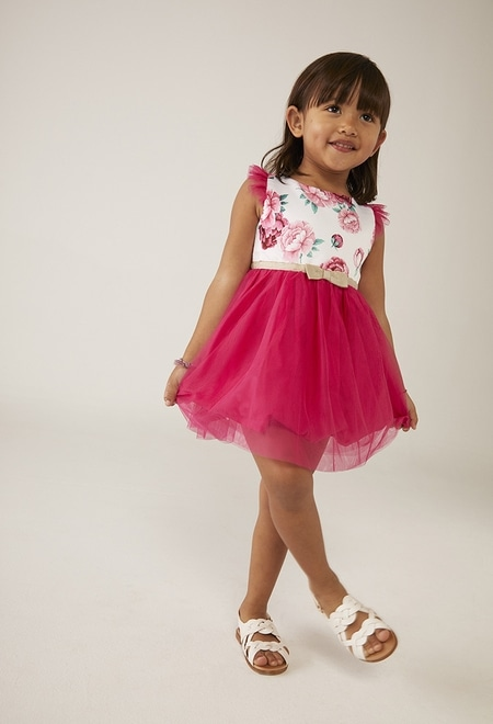 Dress with tulle combined for baby girl_1