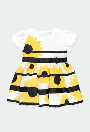 """Vestido satén """"flores"""" de bebé niña_1"""