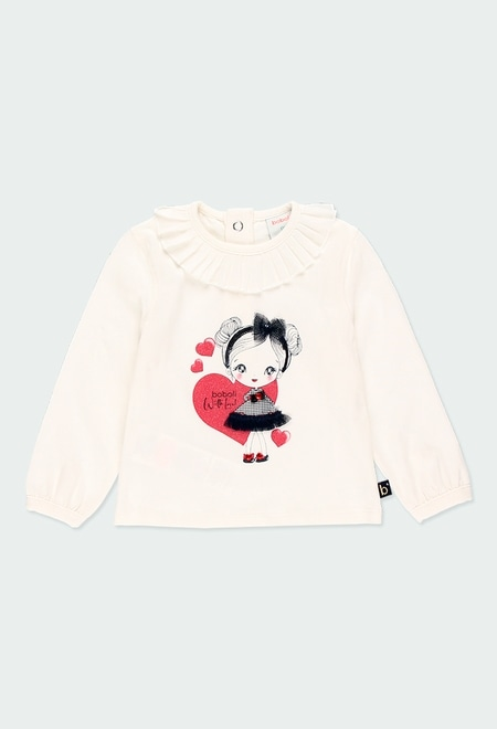 T-Shirt tricot a volants pour bébé fille_1