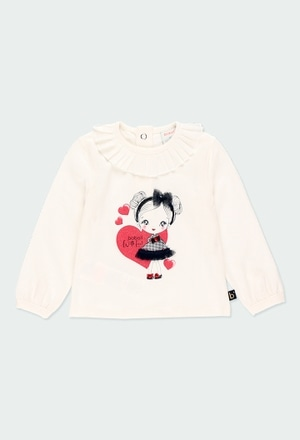 Camiseta malha com folhos para o bebé menina_1