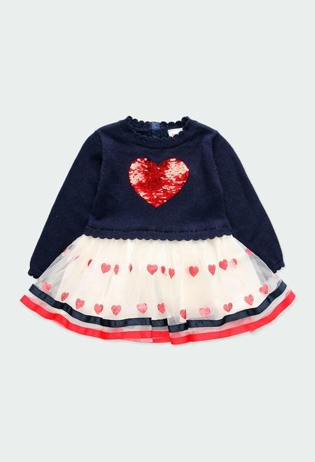 """Vestido tricot """"coração"""" para o bebé menina_1"""
