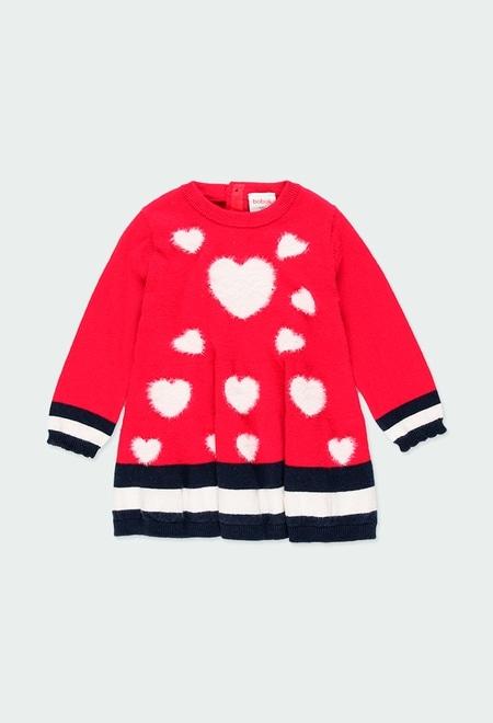 Vestido tricot corações do bébé_1
