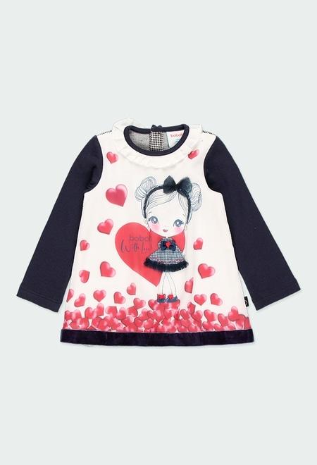 Vestido malha corações para o bebé menina_1
