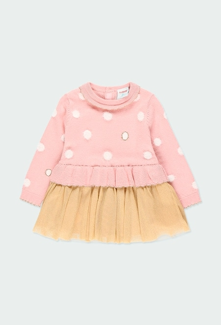 Knitwear dress with tulle for baby girl_1