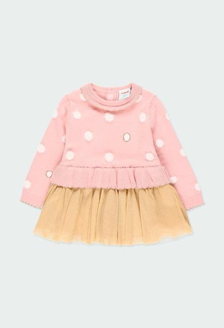Vestido tricot com tule para o bebé menina_1