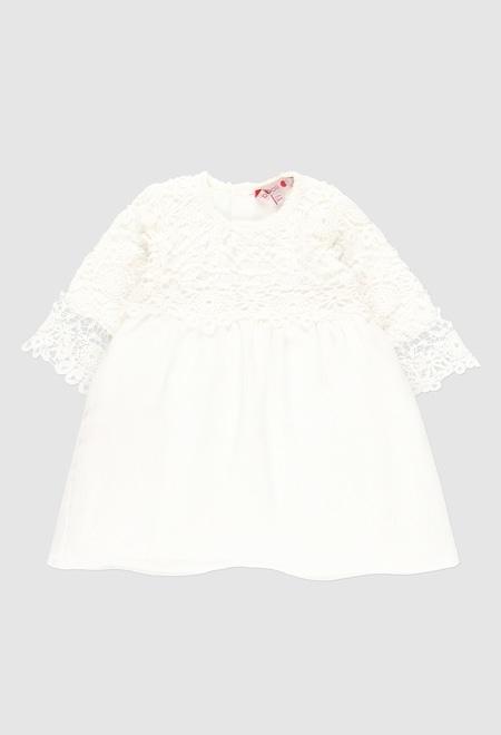 Robe en guipure bi matiere pour bébé fille_1