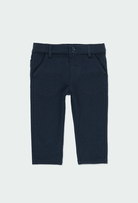 Stretch fleece trousers for baby boy_1