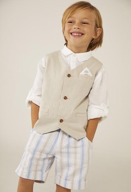 Chemise en lin manche courte pour bébé garçon_1