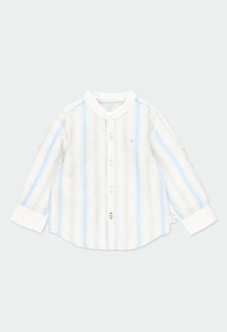 Chemise en lin manche longue à rayures pour bébé_1