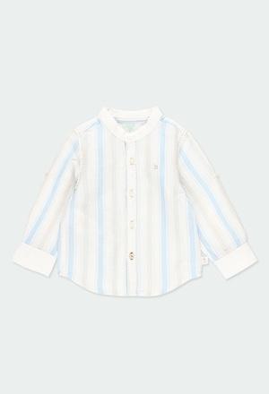 Camicia lino manica lunga a righe per neonati_1