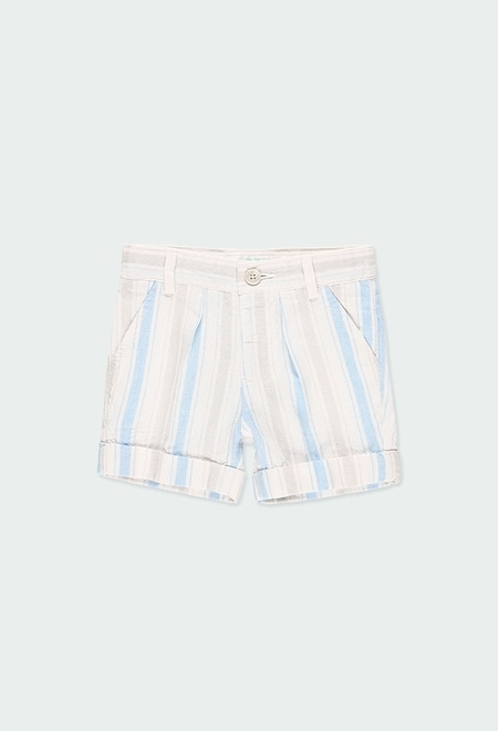 Linen bermuda shorts striped for baby boy_1