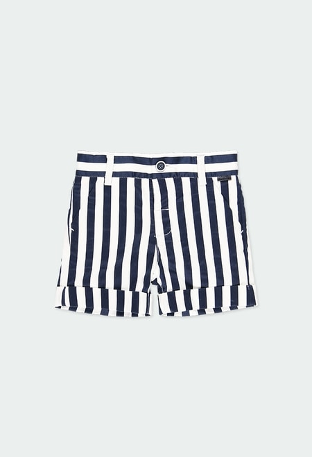 Satin bermuda shorts striped for baby boy_1