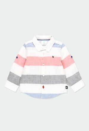 Camisa lino manga larga listada de bebé_1