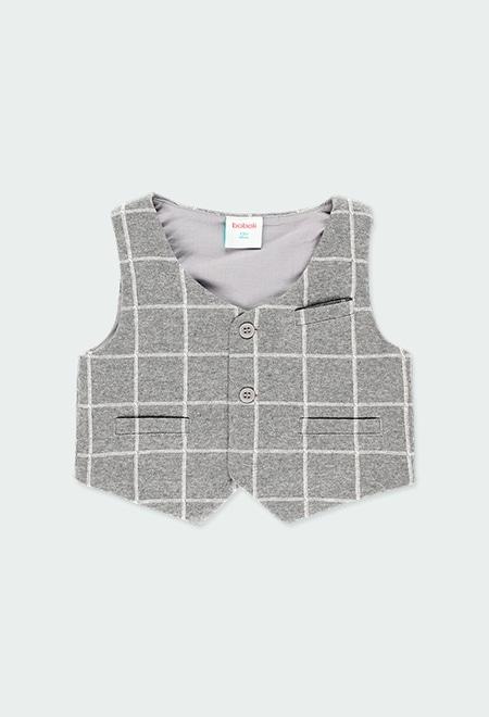 Gilet tricot a carreaux pour bébé garçon_1