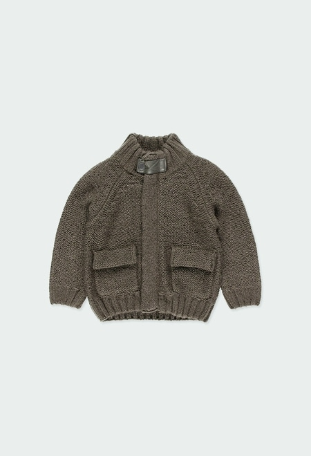 Knitwear jacket with elbow patches for baby_1