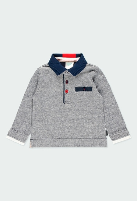 Pique polo with elbow patches for baby boy_1