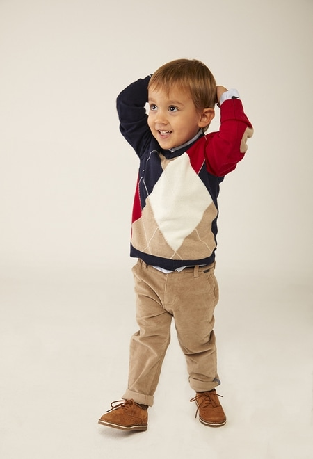 Pullover tricot diamantes para o bebé menino_1