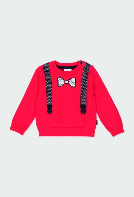 """Knitwear pullover """"suspenders"""" for baby boy_1"""