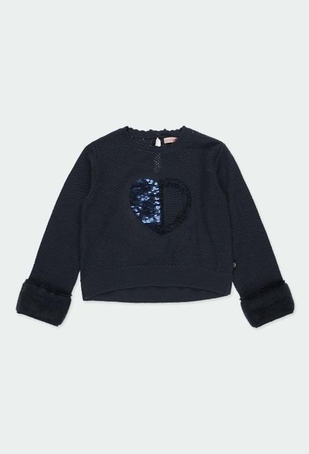 """Pullover tricot """"coração"""" para menina_1"""