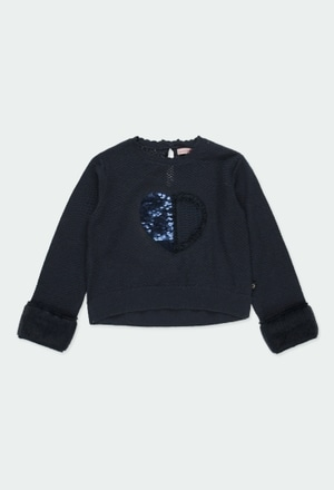 "Knitwear pullover ""heart"" for girl_1"