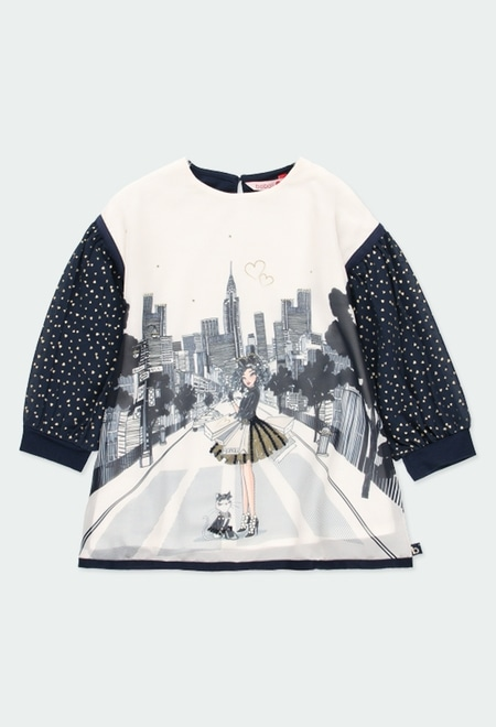 Kleid gestrickt kombiniert für mädchen_1