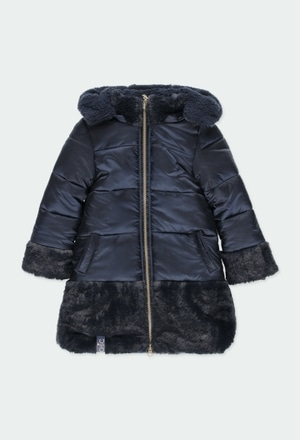 Technical fabric parka combined for girl_1