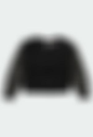 Camiseta punto  con gasa topitos de niña