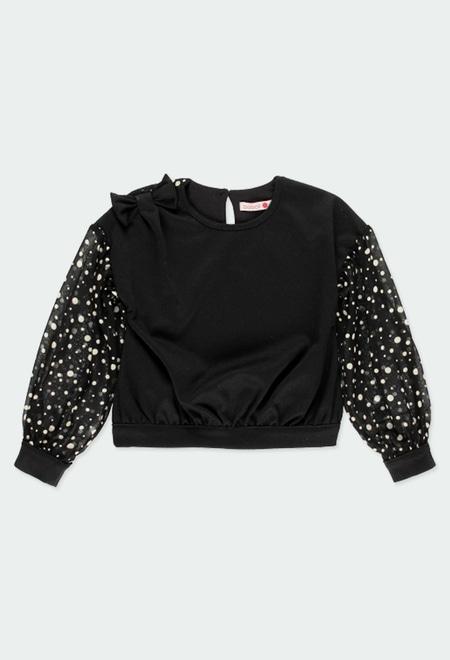 T-Shirt tricot avec de la gaze a petits pois pour fille_1