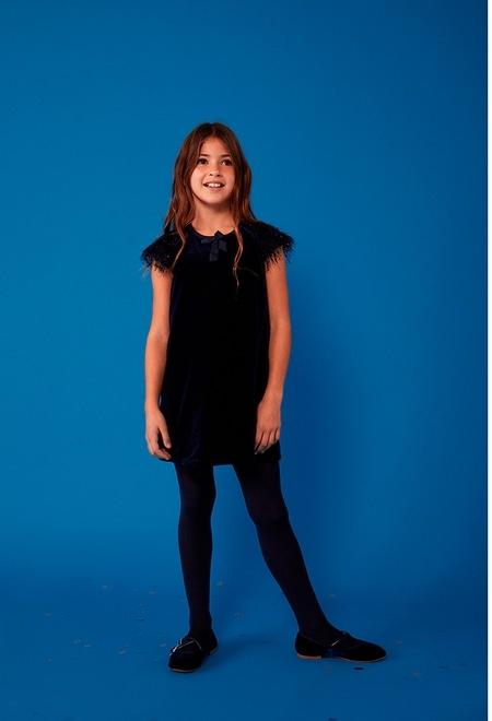 Velour dress with fringes for girl_1