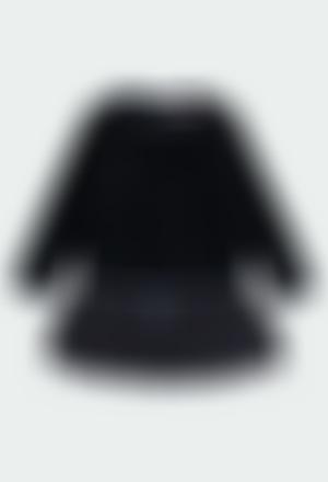 Velour dress with fringes for girl