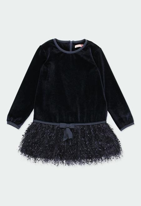 Vestido veludo com franjas para menina_1