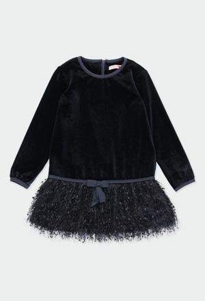 Vestido terciopelo con flecos de niña_1