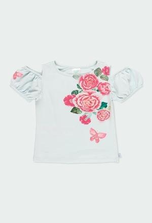 """T-Shirt gestrickt """"blumen"""" für mädchen_1"""