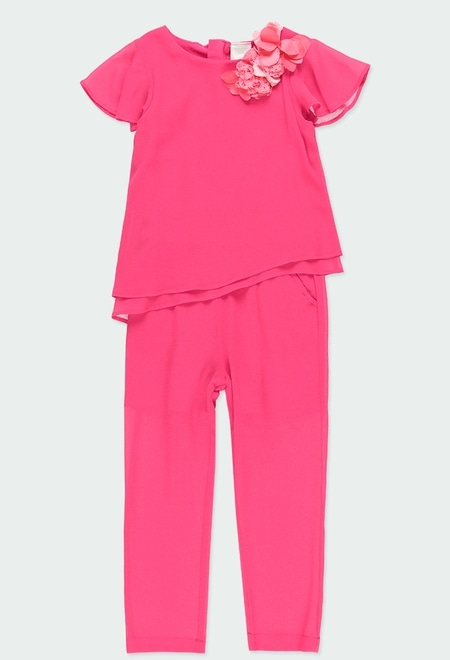 Jumpsuit with gauze combined for girl_1