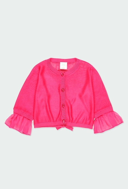 Knitwear jacket with gauze for girl_1