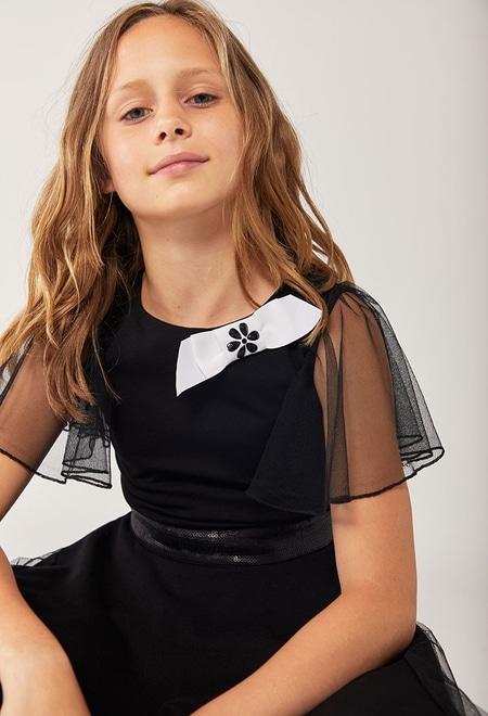 Vestido malha com tule para menina_1
