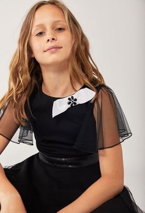 Vestido punto con tul de niña_1