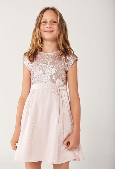 Vestido crepe con lentejuelas de niña_1