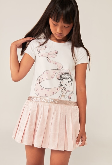Vestido punto combinado plisado de niña_1